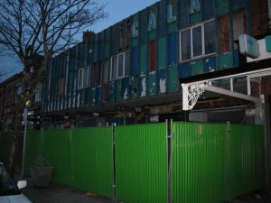 The Scala construction site commences with the installation of green fencing (Photo: 2007 Graham Smith)