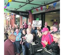 A Rhyl Journal photo showing a demonstration protest outside the Prestatyn Scala cinema.