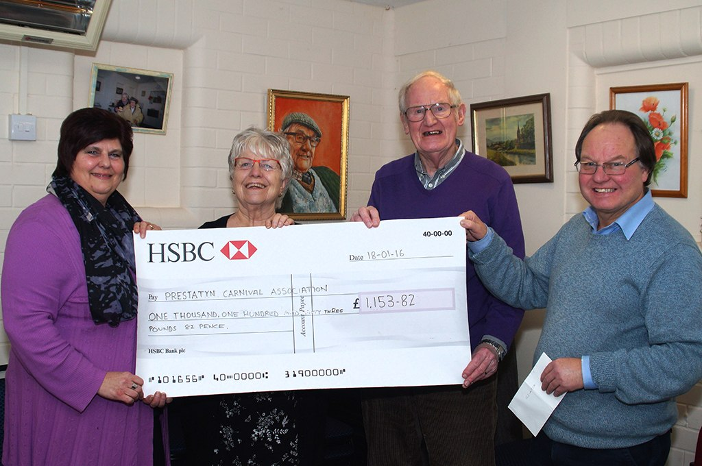 FOSAC Presenting funds to Prestatyn Carnival Committee 18.01.16 (Photo: David Francis)